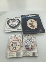 Mini Cross Stitch Kits (5) Bear Sheep God Bless Kitchen Sealed - $8.59