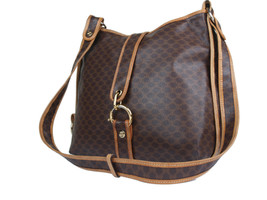 Authentic Celine Macadam Pvc Canvas Leather Browns Shoulder Bag CS17529L - $249.00