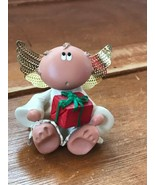 Estate Kirk Signed Small Resin Chubby Face Angel Sitting with Red Gift P... - $7.78
