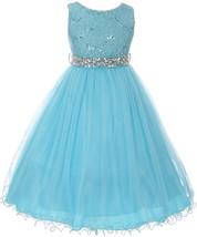 Flower Girl Dress Glitters Sequin Top Rhinestone Sash Turquoise MBK 340 - $47.99