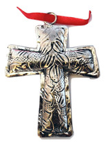 Polished Silver Tin-Etched & Antiqued Cross Christmas Ornament-Holiday! - $8.54