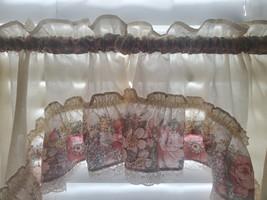 Vintage Jabot Swag Valance Curtain - Pink Roses, Lace, Ruffles, Romantic... - $28.00