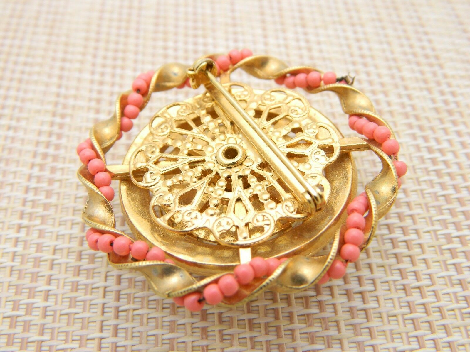 Faux Pearl Rhinestone Pink Seed Bead Large Gold Tone Vintage Pin Brooch