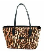 Ralph Lauren Shopper Tote Bag Tan Brown and Black Leopard Print Canvas Medium - $152.73