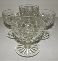 4 Hocking Glass Sherbet Waffle Waterford Depression Crystal Clear Desser... - $39.59