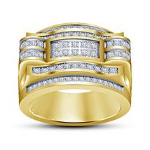 Fashion Yellow Gold Fn 925 Silver White Sim Diamond Mens Band Ring Free Shipping - $120.50