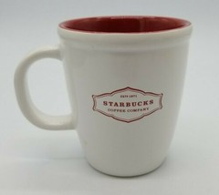 Starbucks 2006 Classic Abbey Style 13 Oz Ceramic Mug Coffee Cup Tea Red White - $16.71