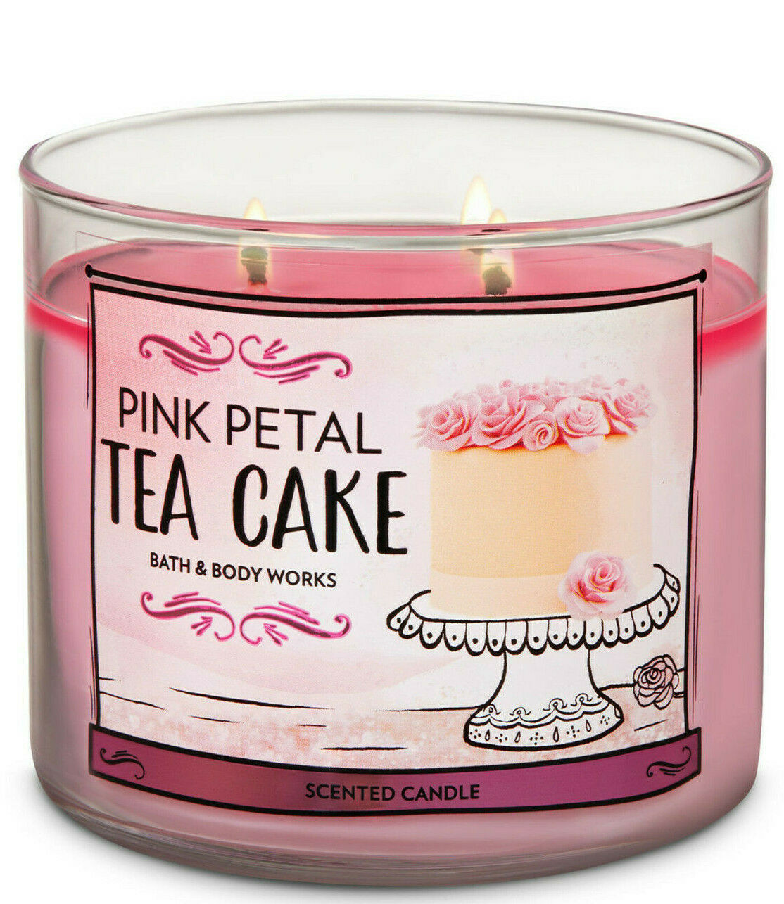 Primary image for Bath & Body Works Pink Petal Tea Cake Three Wick.14.5 Ounces Scented Candle