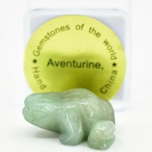 Aventurine Quartz Gemstone Tiny Miniature Frog Hand Carved Stone Figurine image 1