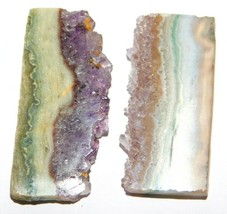 Amethyst Slice Natural Loose Gemstone Cabochon Lot Purple 80Cts. 2Pcs 33171 - $10.39