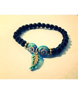 Feather Stretch Bracelet Black and Teal - $4.55