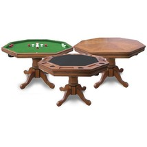 Poker Table Bumper Pool and Pedestal Table Combo w FREE Room of Choice D... - $1,202.83