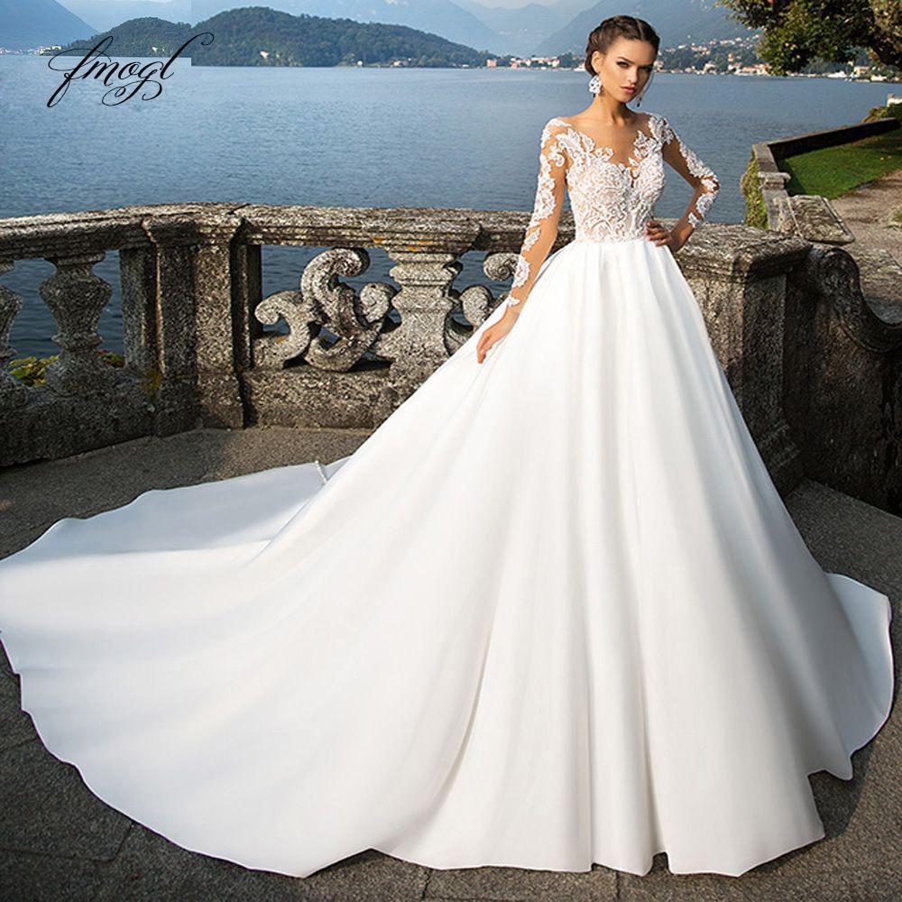 Estido de noiva long sleeve vintage wedding dresses 2020 sexy appliques chapel train matte satin