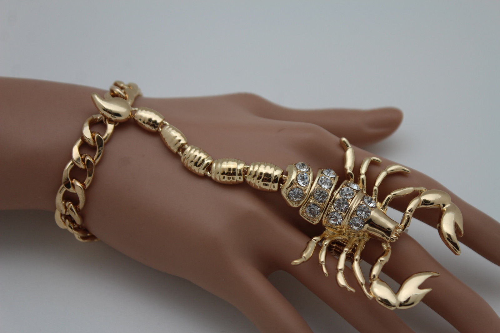 Women Big Gold Scorpion Hand Chain Slave Bracelet Ring Connected Fashion Jewelry
