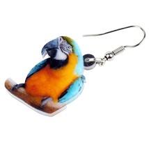 Acrylic Blue-and-Yellow Macaw Parrot Bird Earrings Big Long Dangle Drop ... - $6.73