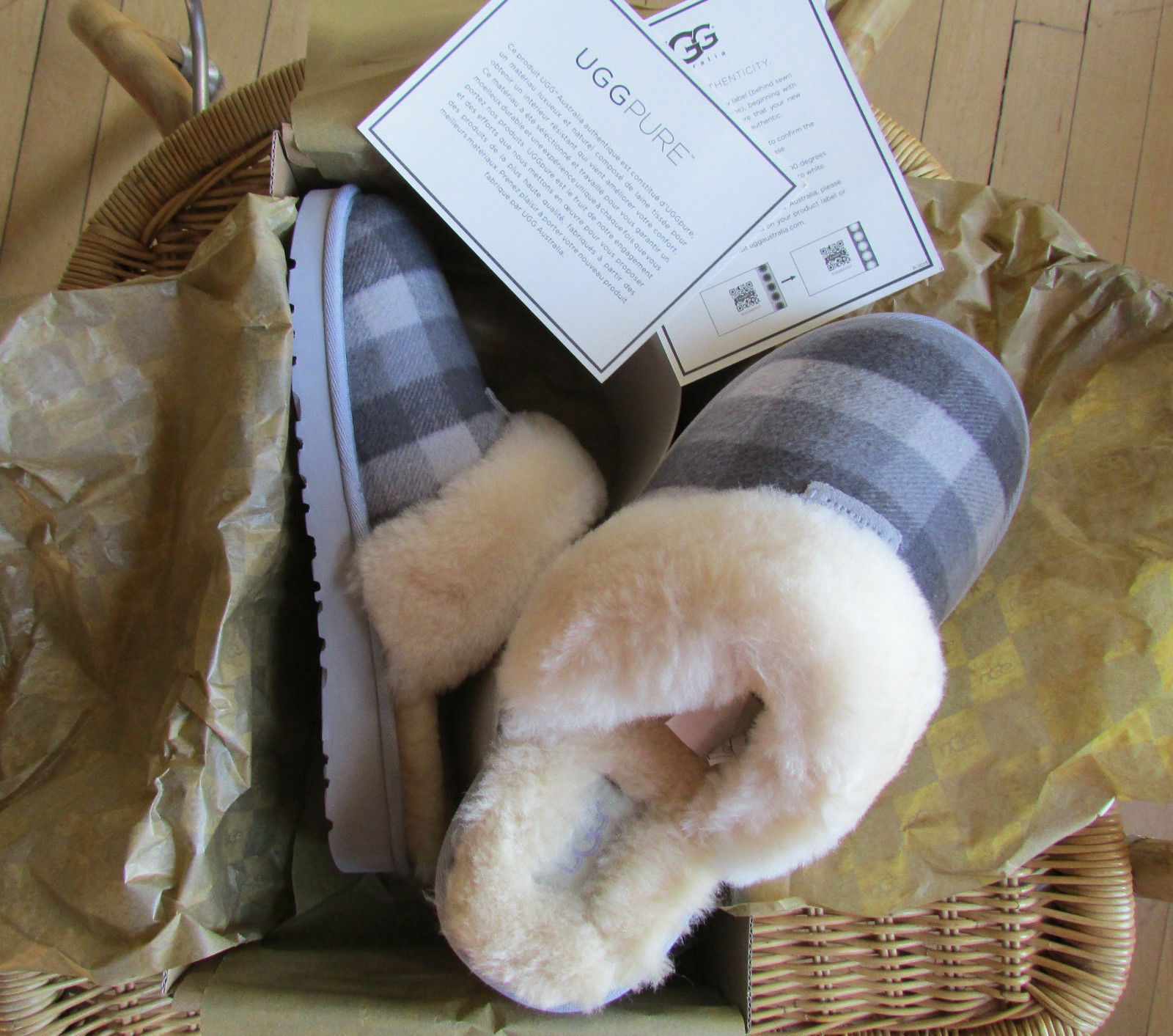 18857ee4438 UGG Slipper Shoes Cozy Plaid Flannel BK5 and 50 similar items