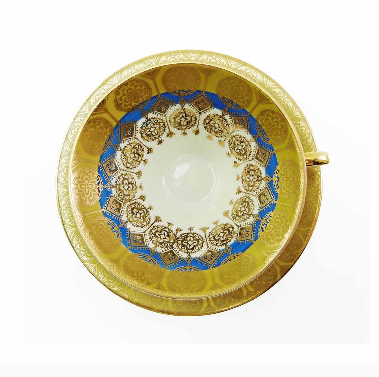 Atomic Gold Blue Tea Cup & Saucer Set Winterling Bavaria Vintage 1950s Hand Pain - $58.50