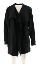 Halston Open Front Drape Collar Knit Long Slv Pckts Jacket Black M NEW A... - $37.60