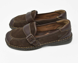 Born Women's Sz 8 EU 39 Brown Leather & Suede Monk Strap Slip On Flats - $24.95