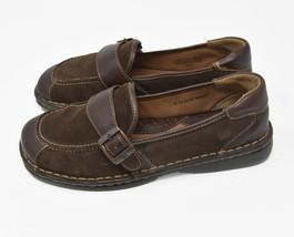 Born Women's Sz 8 EU 39 Brown Leather & Suede Monk Strap Slip On Flats - $24.95
