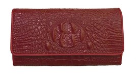 New Red Italian Made Crocodile Embossed Italian Leather Clutch Crossbody... - $108.85