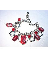 "Red Glass Bead Charm Bracelet Silvertone Metal Chain 7 1/2 - 8 1/2"" Long - $5.00"