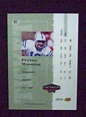 1998 Playoff Contenders Rookie Ticket Auto #87 Peyton Manning [Colts] RC_Repro
