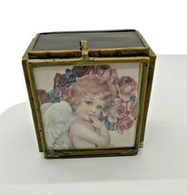 "Music Box  Angel Insert ""Unchained Melody"" Made in Japan stained glass  - $18.69"