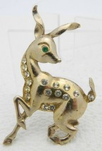 VTG Gold Tone Green Clear Rhinestone Deer Pin Brooch - $29.70