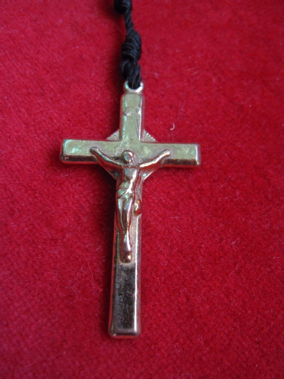 Vintage Black Handmade Knotted Twine Rosary w/ Metal Crucifix Jesus
