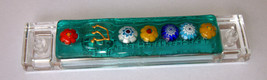 Murano Glass Handmade Mezuzah Case w 6.5 cm Scroll Green Murrina Judaica image 3