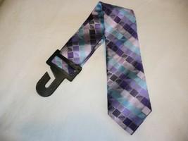 George Men's Neck Tie Purple Tile Geo Dress Tie New - $10.19