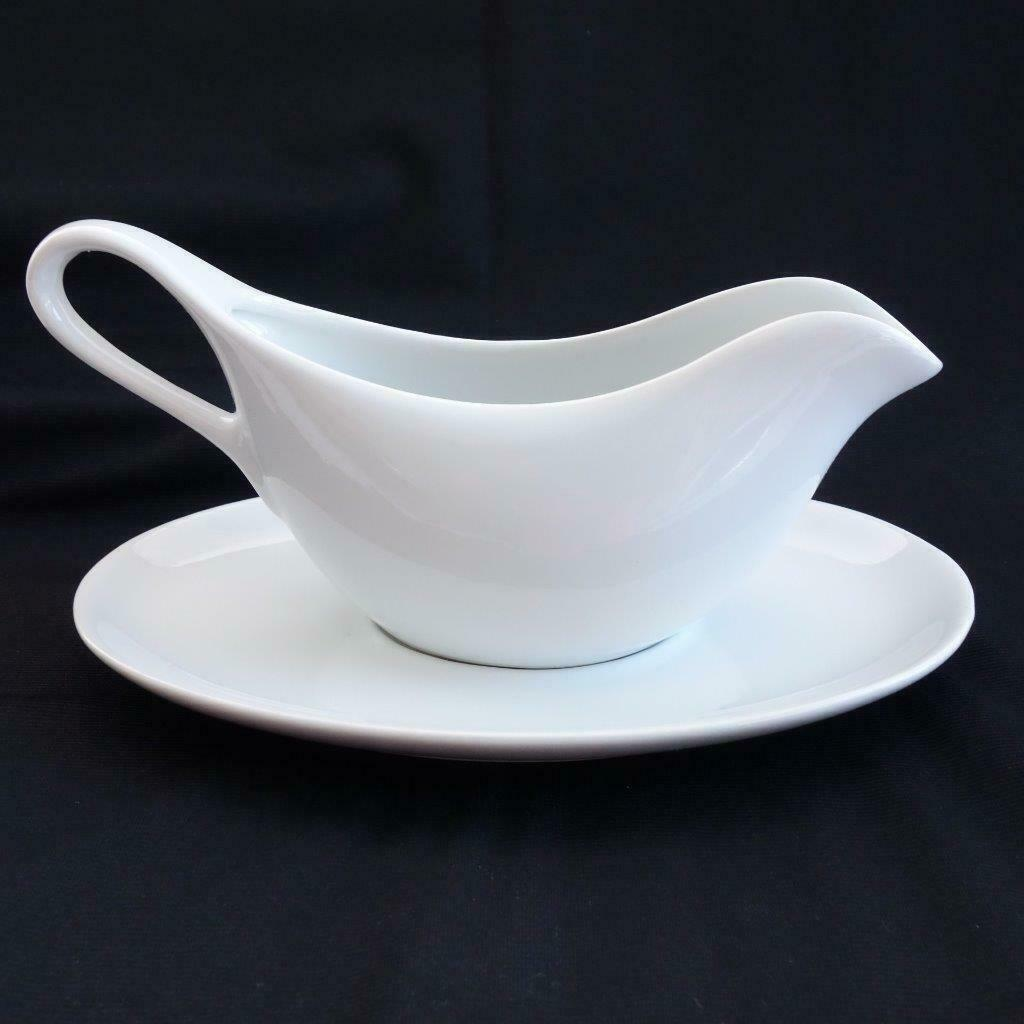 Primary image for Williams Sonoma White Ceramic Gravy Boat and Separate Under Plate