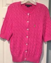 Ralph Lauren Blue Label Hot Pink Cable Knit Cardigan Sweater Sz L Short Sleeve - $27.10