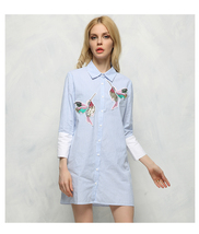 New arrival 2018 Women Bird Embroidered Blouse Shirts fashion Long sleeve high q image 5