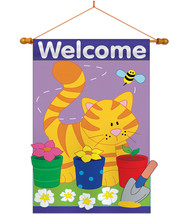 Garden Cat - Applique Decorative Wood Dowel with String House Flag Set HS110037- - $46.97