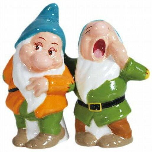 Snow White's Bashful and Sleepy Ceramic Salt and Pepper Shakers Set, NEW UNUSED