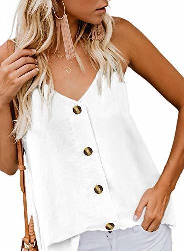 Roshop Women's Plus Size Summer Sleeveless Basic V Neck Camisole Loose Fitting T