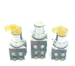LOT OF 3 CUTLER-HAMMER 2-POS. SELECTOR SWITCHES W/ 120V 50/60HZ COILS, 5.3V LAMP image 1
