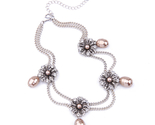 Mulated pearls choker necklace silver color double chains short necklace jewelry 3 thumb155 crop