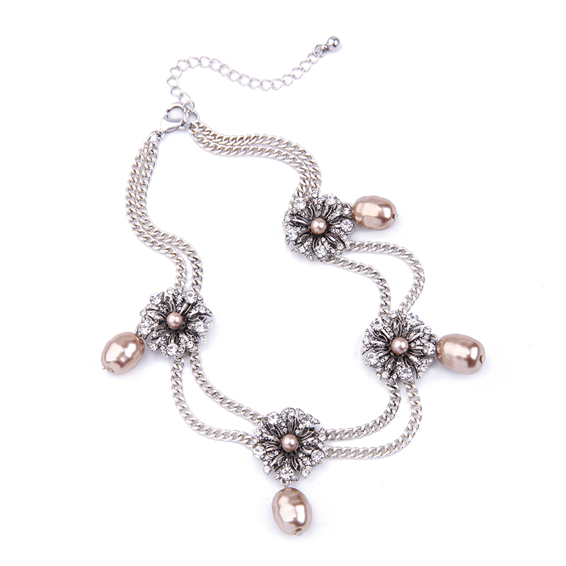 Stal flower simulated pearls choker necklace silver color double chains short necklace jewelry 3