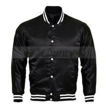 Letterman Baseball College Varsity Bomber Jacket Sports Wear Quality Black Satin - $49.98+