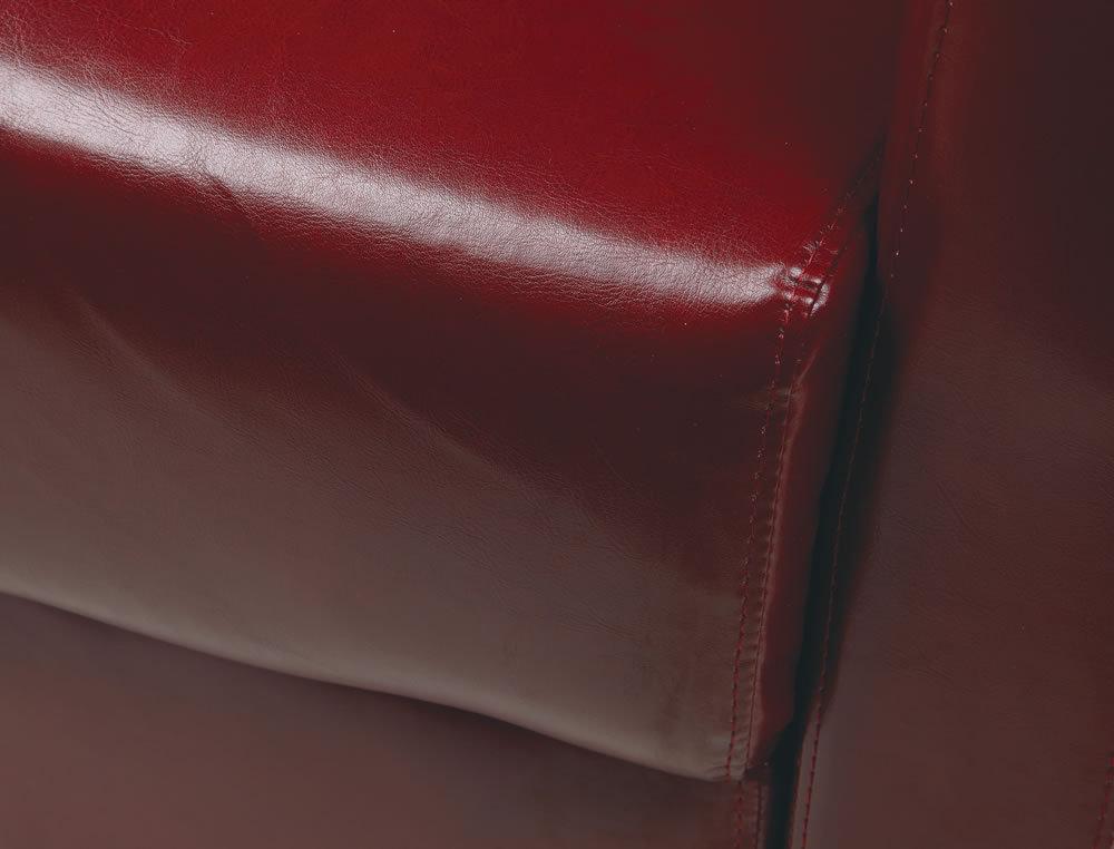 Crimson Red Faux Leather Wood Legs Lounge Club Chair & Ottoman SET - Armchair