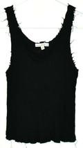 Moa Moa Women's Black Raw Tattered Hem Ribbed Knit Tank Top Size XS