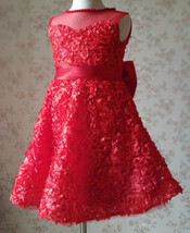 RED Flower Girl Wedding Dress Lace Bead Tea Length Red Wedding Dresses 4-16 image 2