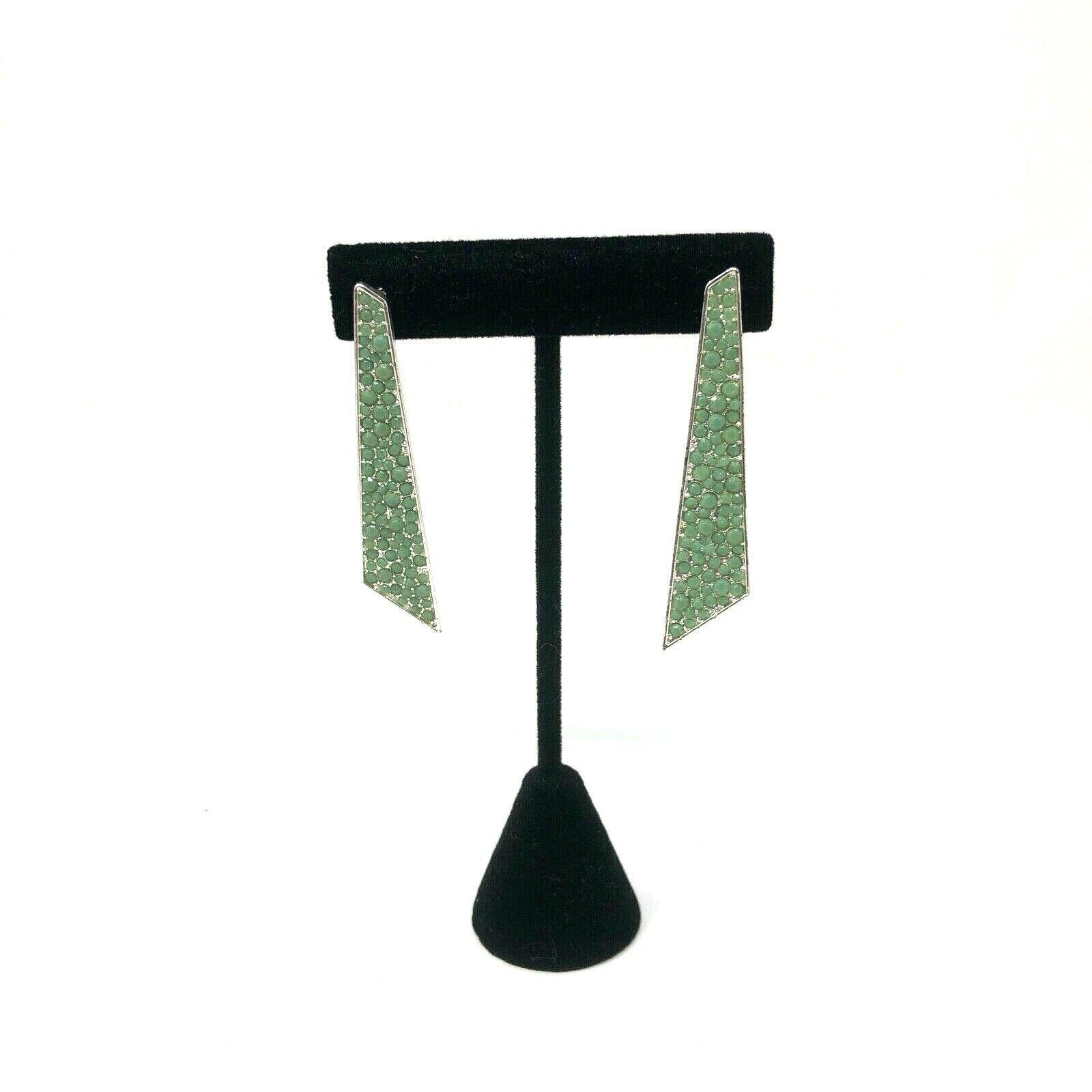 Avon Mark Earrings Green Angle Dangle Earrings Pierced Push Post Back - $11.87