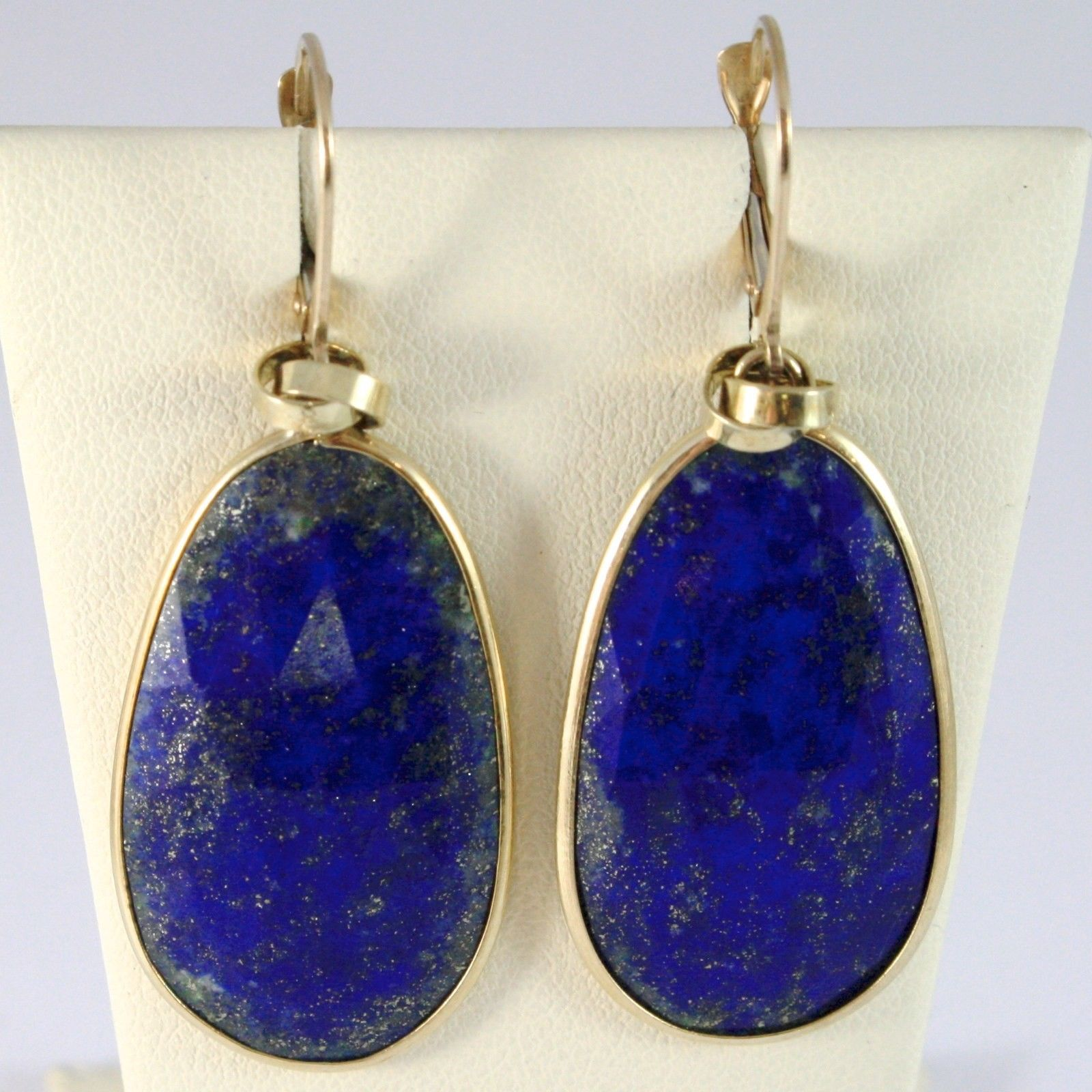YELLOW GOLD EARRINGS 375 9K HANGING WITH LAPIS LAZULI BLUE DROP