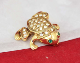 Golden FROG Brooch Pin with emerald green eyes and Clear Sparkling Rhine... - $6.20