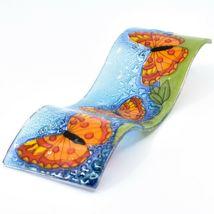 Fused Art Glass Red Orange Butterflies Wavy Sun Catcher Handmade Ecuador image 6