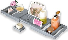 Royal Craft Wood Luxury Bamboo Bathtub Caddy Tray with Book and Wine Hol... - $47.68
